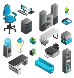 Office interior icons set vector
