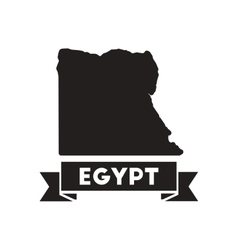 Flat icon in black and white egypt map vector