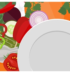Empty plate with vegetables vector
