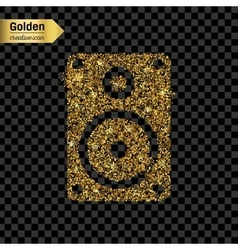 Gold glitter icon of music column isolated vector