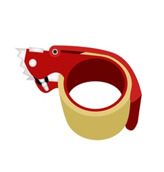 Adhesive tape dispenser on white background vector