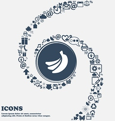 Banana icon in the center around the many vector