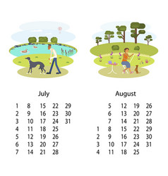 calendar 2018 july august vector image vector image