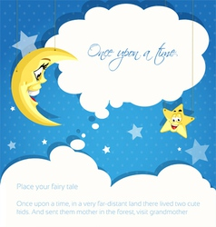 Card with moon and stars background for your tales vector image vector image