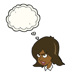 cartoon annoyed woman with thought bubble vector image