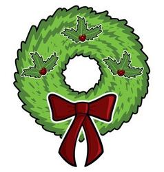 cartoon christmas wreath vector image vector image