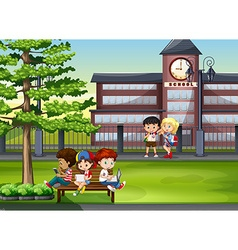 Children hanging out at school vector image vector image