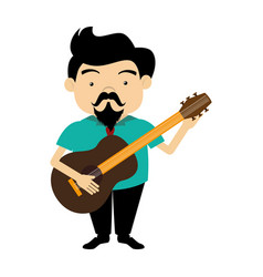 Colorful silhouette singer with acoustic guitar vector