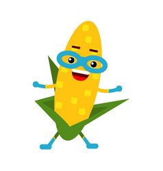 Cute cartoon smiling corncob superhero in mask vector