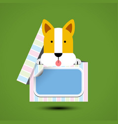 Dog sits in box for gift with sticker vector