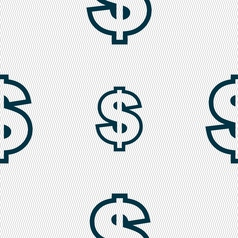 Dollar icon sign Seamless pattern with geometric vector image vector image