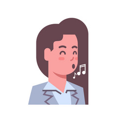 Female singing emotion icon isolated avatar woman vector