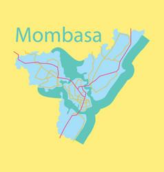 Flat line art design - mombasa city map vector