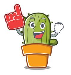 foam finger cute cactus character cartoon vector image