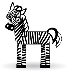 Funny zebra on white background vector