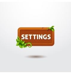 Game interface button settings on wooden template vector