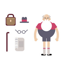 grandpa hipster in glasses with a beard vector image