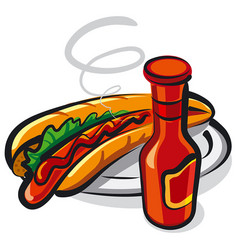 hotdog on plate vector image