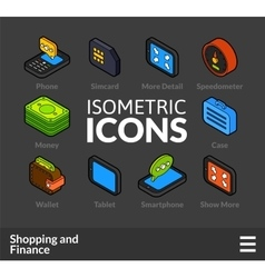 Isometric outline icons set 12 vector image