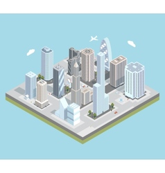 isometric urban city center map with vector image vector image