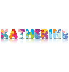 Katherine written with alphabet puzzle vector