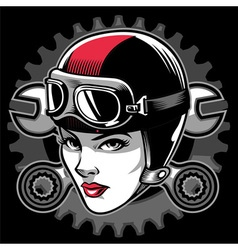 Lady biker head vector