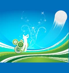 man driving a golf ball on a blue a green vector image