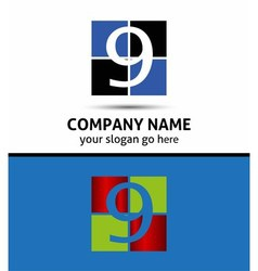 Number nine 9 logo icon template elements vector