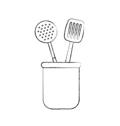 Set kitchen cutlery icon vector