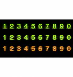 set of illuminated numbers vector image vector image