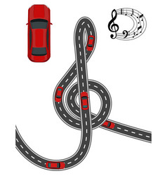 The road is stylized in the form of a treble clef vector