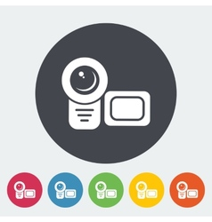 Video camera single flat icon vector image vector image