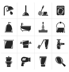 Black bathroom and hygiene objects icons vector