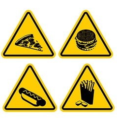 Set warning sign fast food dangerous foods vector
