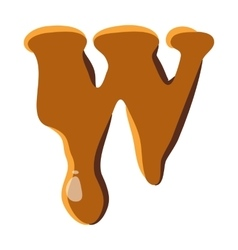 Letter w from caramel icon vector