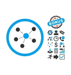 Connections flat icon with bonus vector