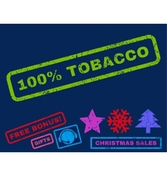 100 percent tobacco rubber stamp vector