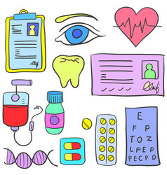 Doodle of object medical design set vector
