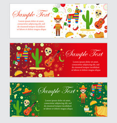 Cinco de mayo celebration in mexico banner set vector