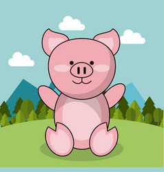 Cute piglet adorable landscape natural vector