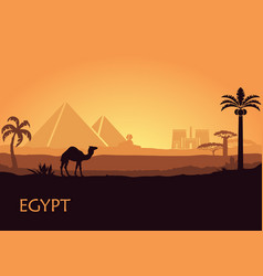 Camel in wild africa pyramids landscape background vector