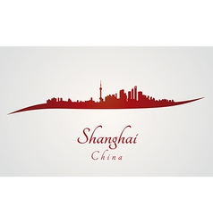 Shanghai skyline in red vector