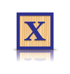 Letter x wooden alphabet block vector
