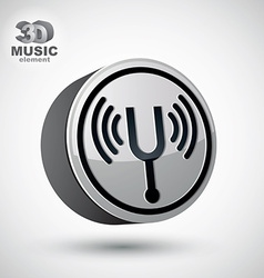 Tuning fork icon isolated 3d music theme design e vector