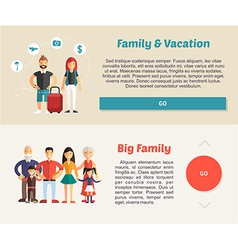 Family vocation and big family flat design concept vector