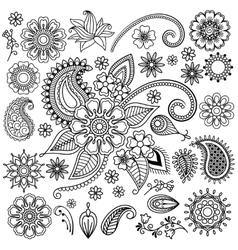 Ethnic Mehndi Flowers Elements vector image