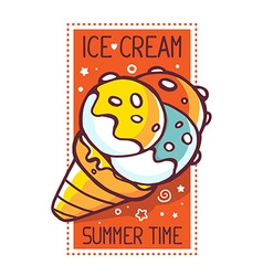 Great yellow ice cream with title ice cre vector