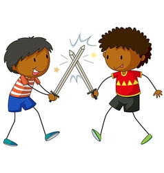 Two boys fighting with swords vector
