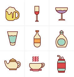Icons style beverage icons vector