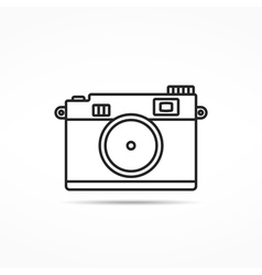 Retro photo camera line icon vector